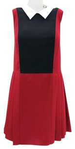 Timo Weiland short dress Red, Black, White Pleated Classic Sleeveless Color-blocking on Tradesy