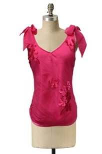 To the Max Ties With Flower Detailing Top Hot Pink