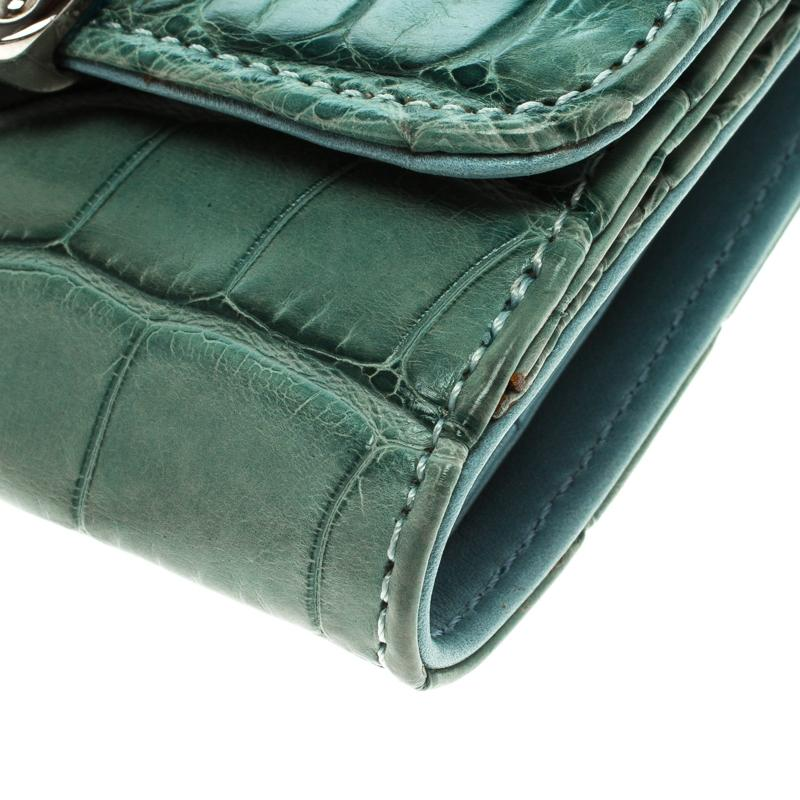 Tod S Alligator Embossed Compact Wallet Green Leather