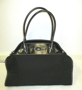 Tod's Tods Black Nylon Leather Tote in Cream