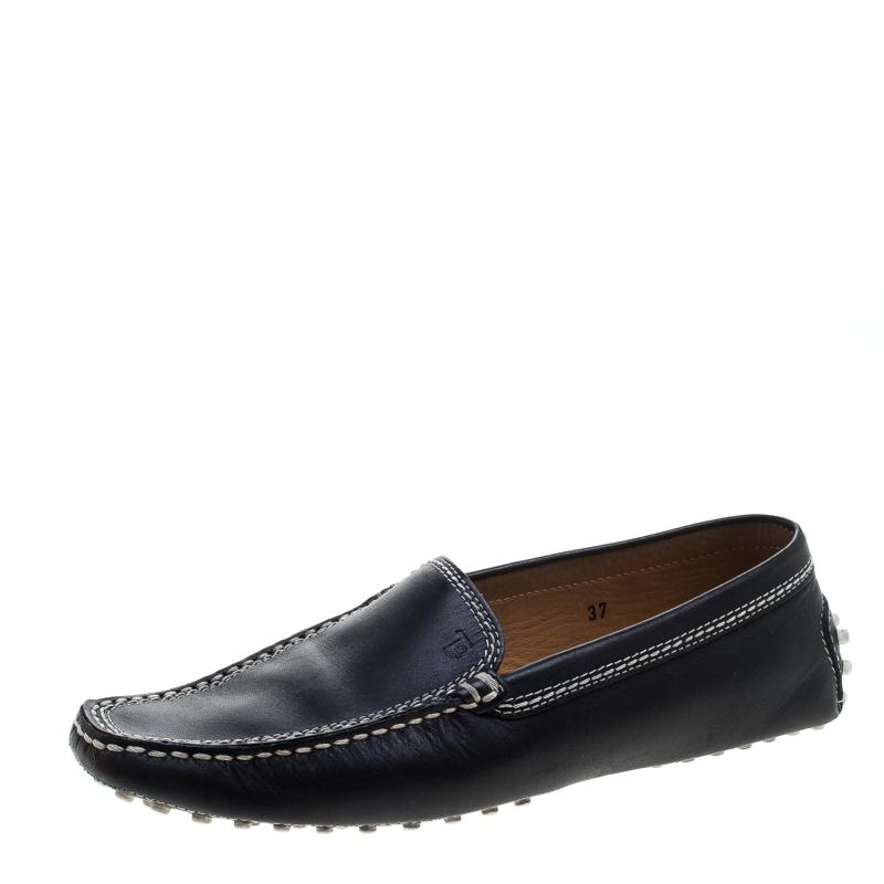 Tod's Black Leather Loafers Flats Size EU 37 (Approx. US 7) Regular (M, B)