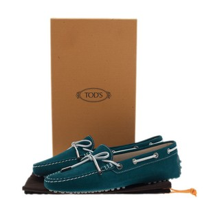 Tod's Italian Leather Pebbled Lace Trim Suede Blue Flats