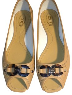 Tod's Leather Tortoise Shell Cream Flats