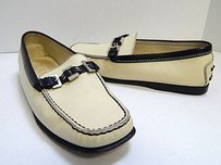 Tod's Black Leather Driving Loafers Italy Beige Flats