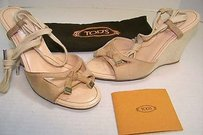 Tod's Italy Sand Suede Laccio Nappine Wedge Platofrom Heels Beige Sandals