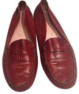 Tod's Reptile Embosssed Loafer Brown Flats