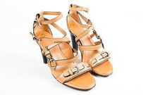 Tod's Tods Leather Buckle Cage Tan Sandals