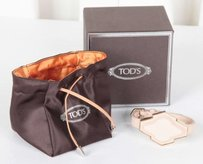 Tod's Tods Womens Blush Leathergold Metal Bracelet Cuff Band Adjustable