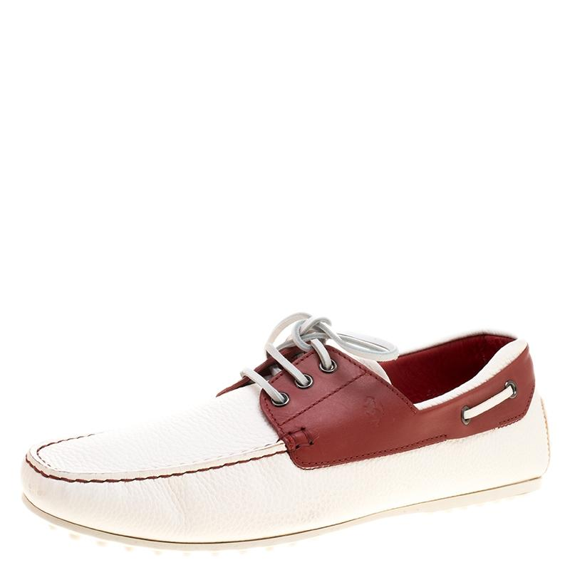 Tod's White For Ferrari Two Tone Leather Boat Loafers Flats Size EU 43 (Approx. US 13) Regular (M, B)
