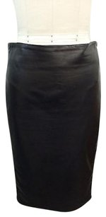 Tom Ford Lamb Leather Side Panel Zip Pencil Skirt Black