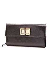 Tom Ford Tom Ford Black Leather Natalia Turn-lock Continental Wallet