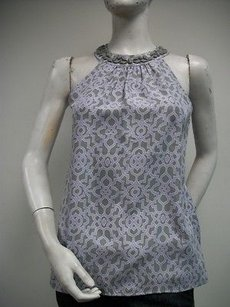 Tommy Bahama Chalk Sound Geo Fossil Gray Lavender White 100 Silk Top Multi-Color