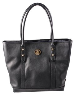 Tommy Hilfiger Hadley Pebbled Leather Tote in black