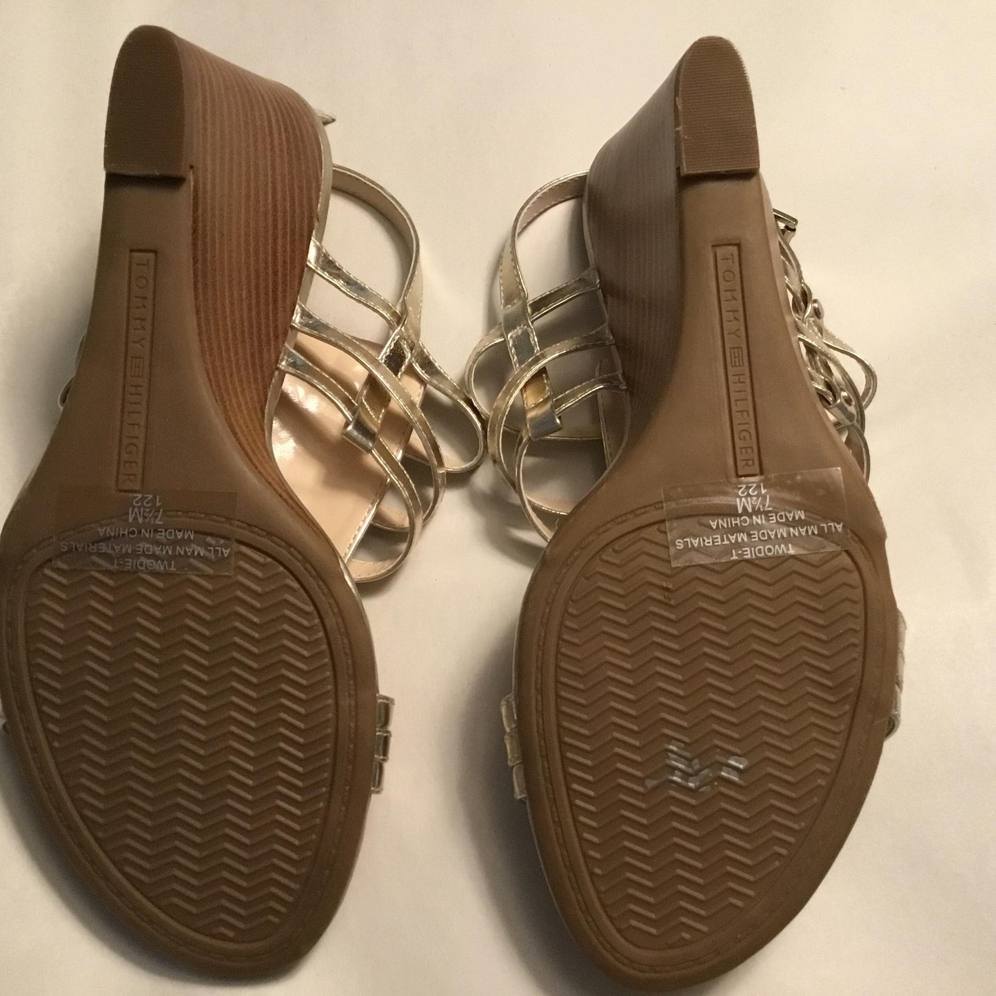 Tommy Hilfiger Gold Sandal Wedges Size US 7.5 Regular (M ...
