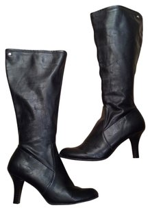 Tommy Hilfiger Zippered Heeled Monogrammed 9 Black Boots