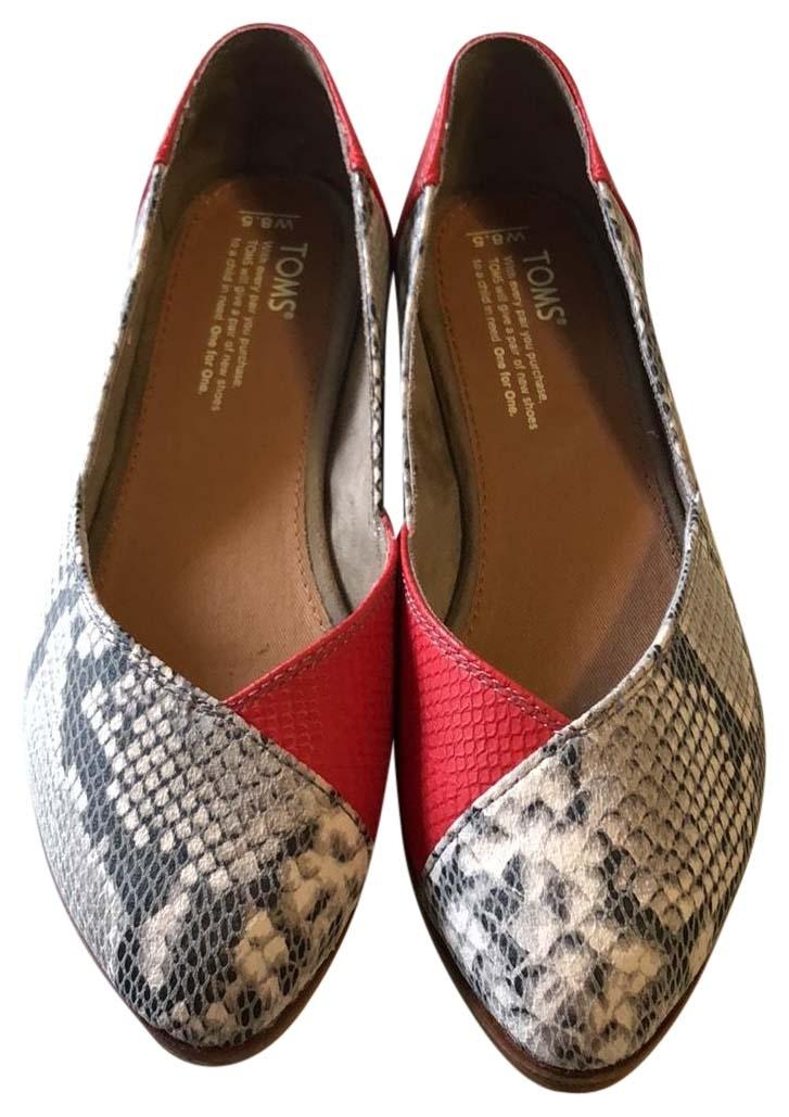 TOMS Jutti Red Snake Print Leather Flat 1IpFV2aq