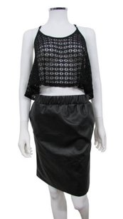 Topshop Ruch Leather Skirt Black