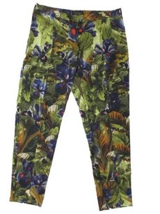 Topshop Ankle Vent Flat Front Crop Floral Capri/Cropped Pants green purple