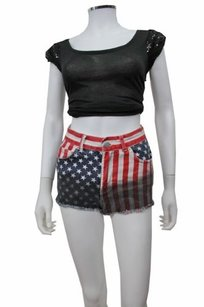 Topshop Moto American Flag Mini/Short Shorts Multi-Color