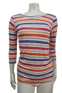 Torn by Ronny Kobo Striped Open Back White Combo Top Multi-Color