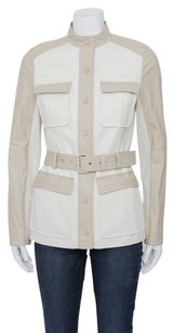 Tory Burch Linen Light Brown Leather Button Down Safari Belt Coat White Jacket