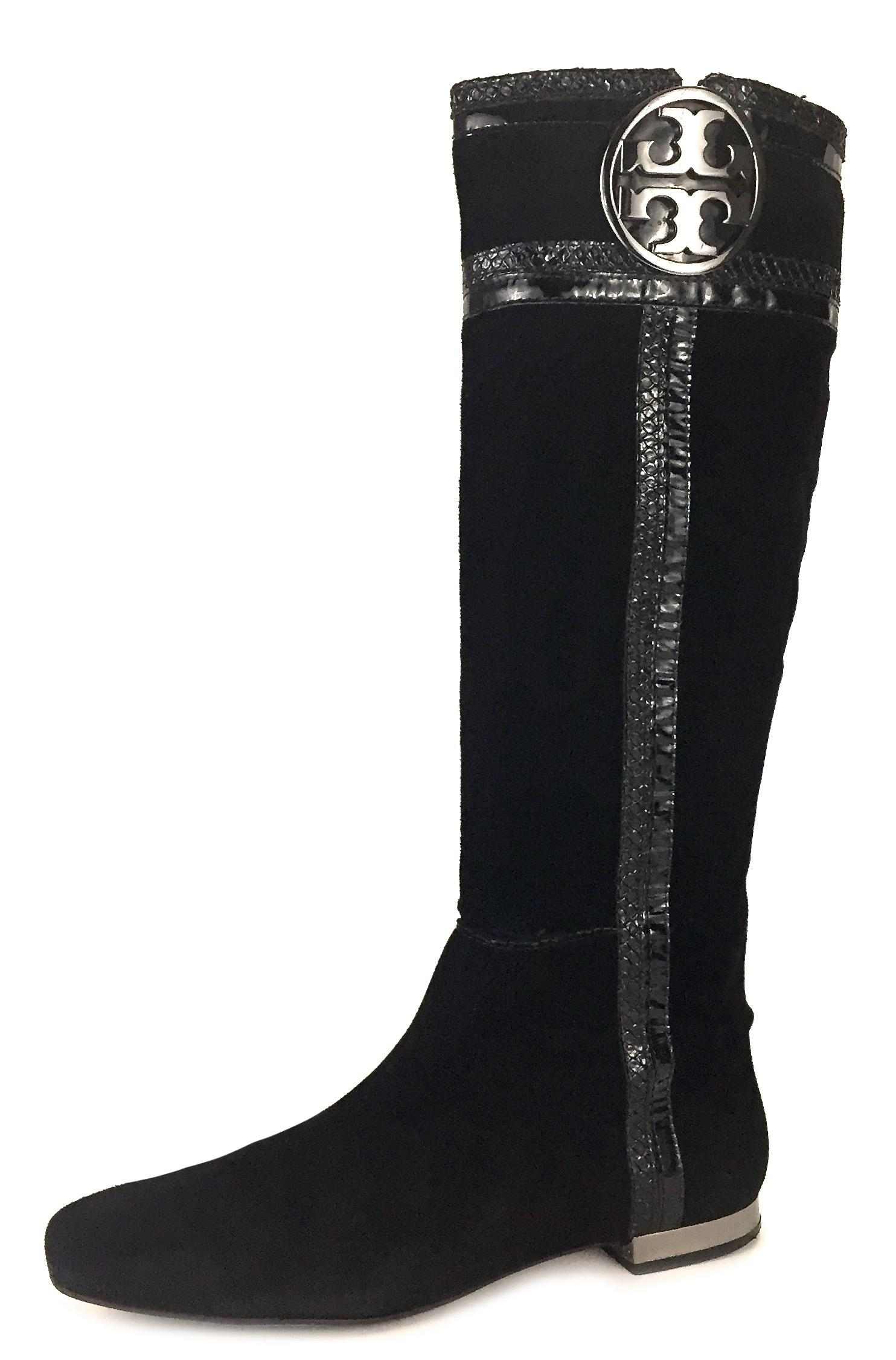 4a8f8b21c2b2b6 ... spain tory burch classic casual suede logo comfortable black boots  d1ee7 2688c