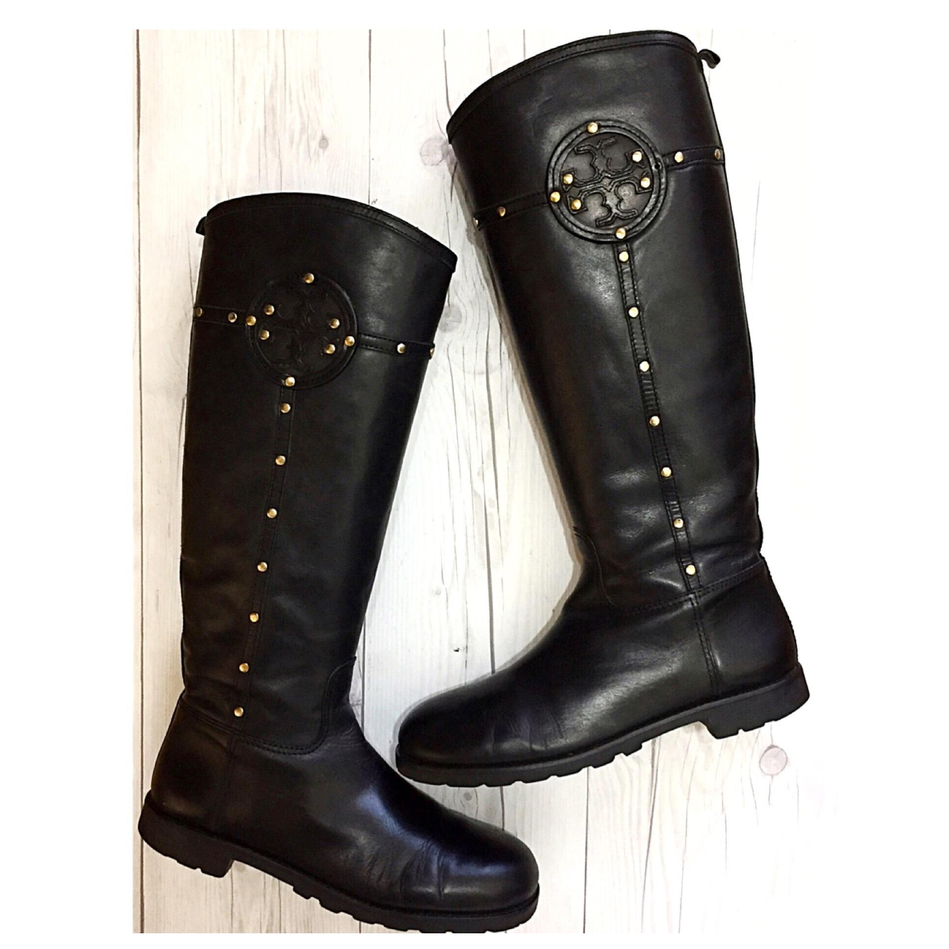 3c76dbf0819 Tory Burch Black Colleen Colleen Colleen Studded Logo Leather Knee High  Riding Boots Booties Size US 9.5 Regular (M