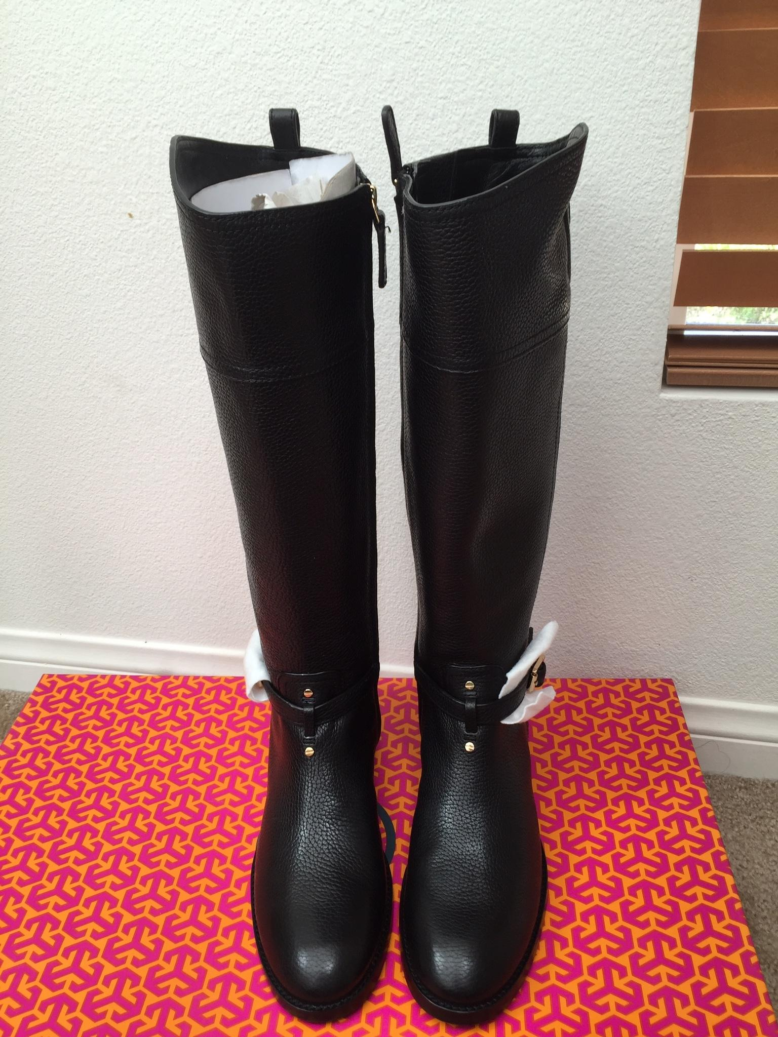4ef3a8889 ... Tory Burch Black Marlene Marlene Marlene Riding - Tumled Leather Boots Booties  Size US 9 ...