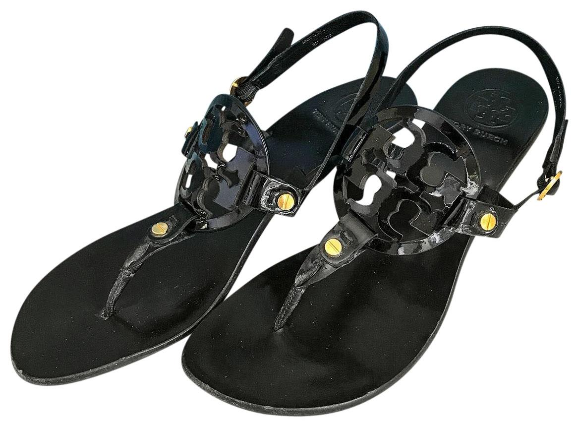 1099056c548635 Tory Burch Black Patent Patent Patent Leather Miller Sandals Size US 8  Regular (M