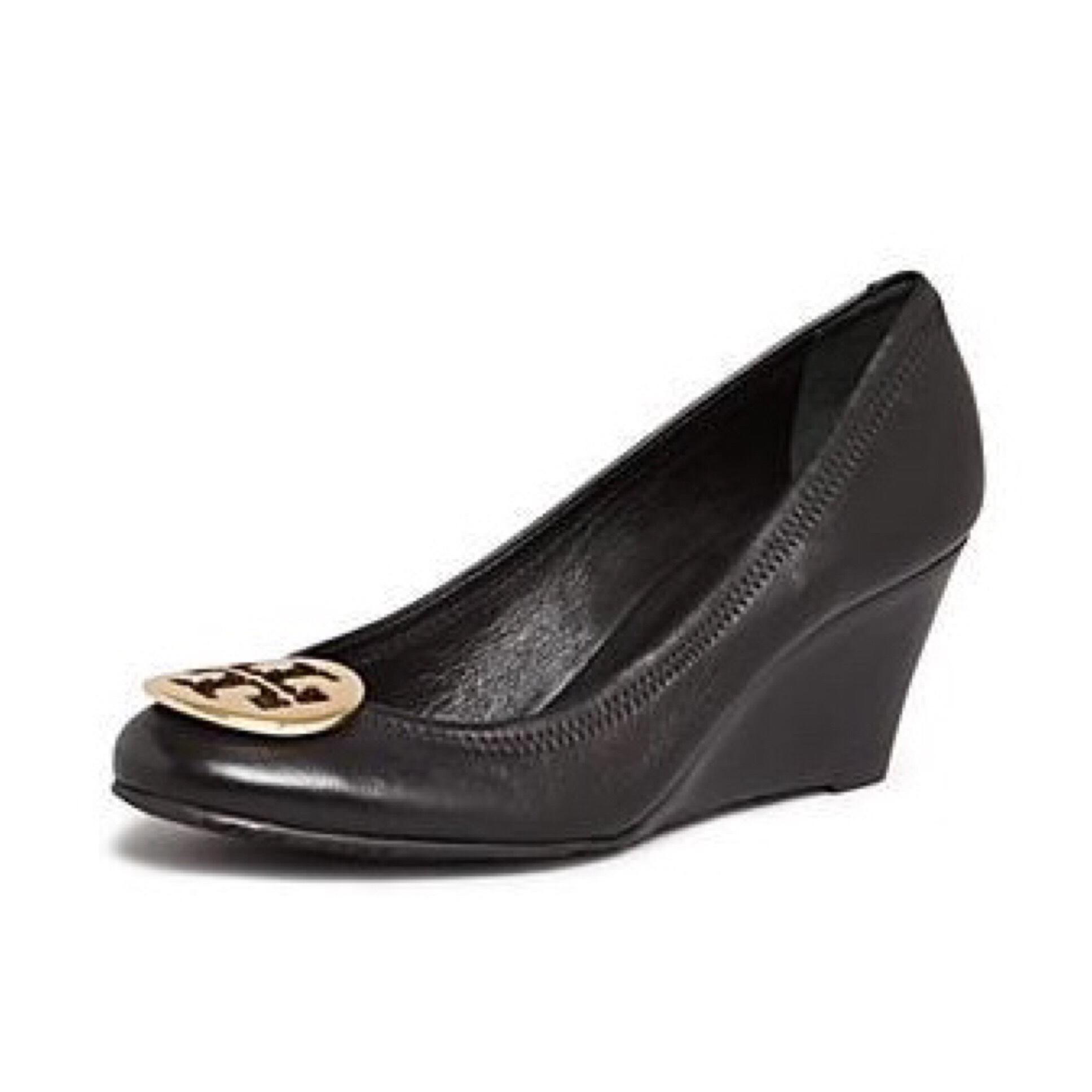a9fbb2968 Tory Burch Black Sally Leather Pumps Gold Logo Medallion Wedges Wedges  Wedges Size US 10.5 Regular (M