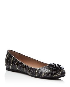 Tory Burch BLACK WHITE SNAKE Flats