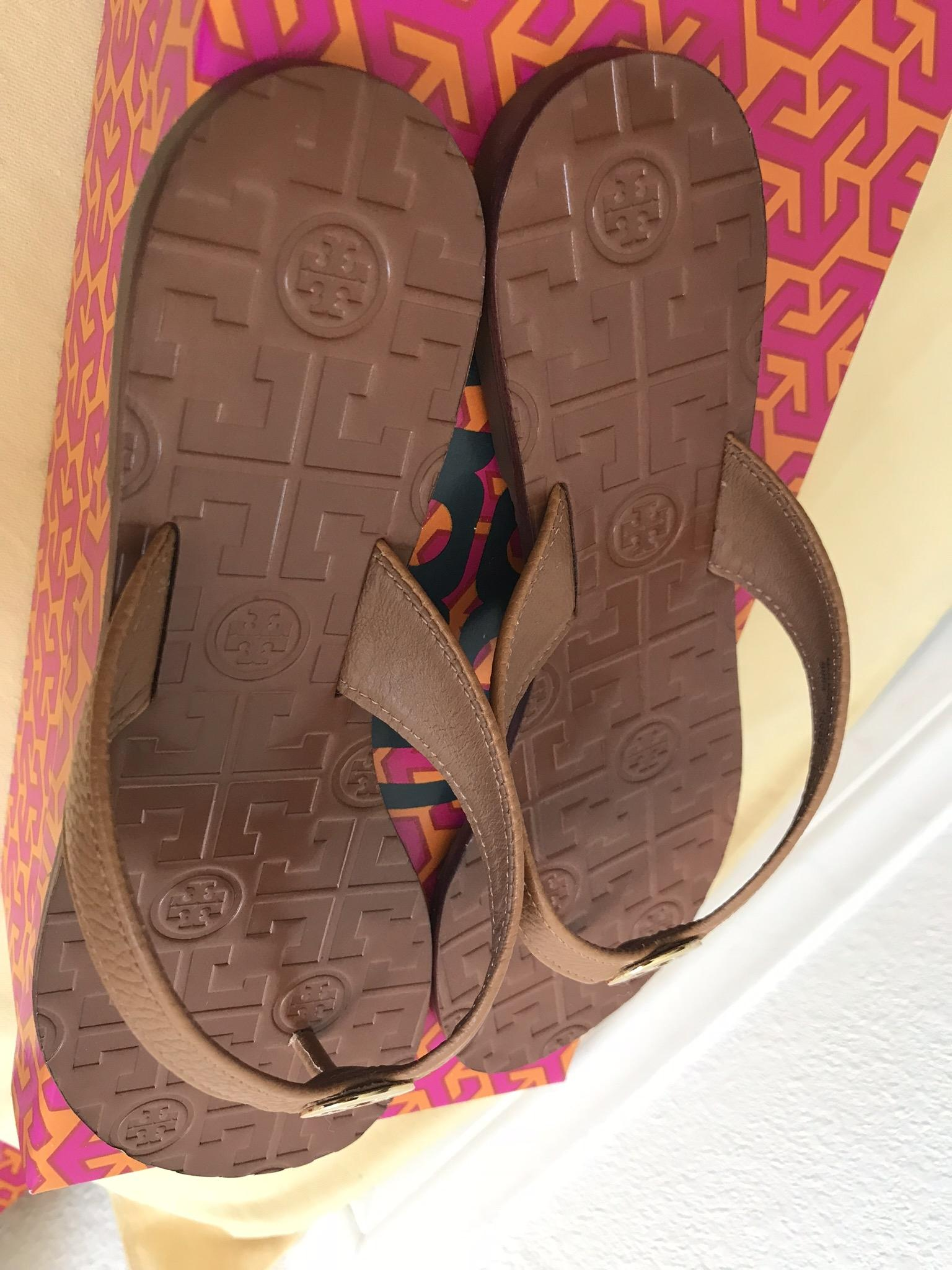 fa343fe04a96 ... Tory Burch Brown 10m Thora Thora Thora Thong Leather Royal Tan Sandals  Size US 10 Regular ...