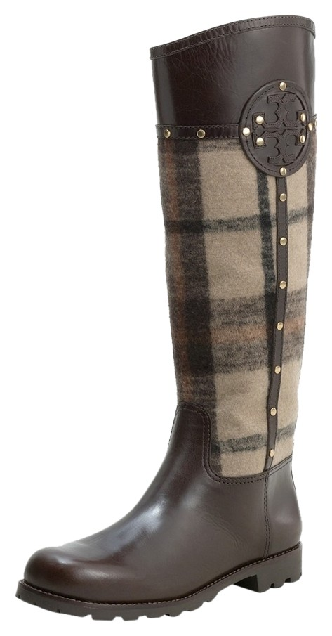 Tory Burch Brown Plaid Leather High Wool Check Tall Knee High Leather Riding Boots/Booties Size US 8 Regular (M, B) 62ce68