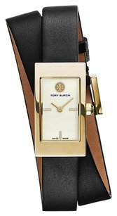 Tory Burch BUDDY SIGNATURE DOUBLE-WRAP WATCH, BLACK LEATHER/GOLD-TONE