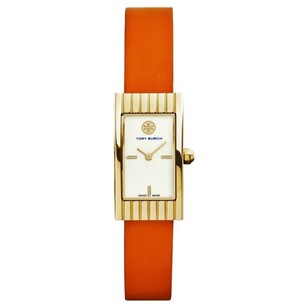 Tory Burch Buddy Signature Gold Orange Leather Swiss Watch