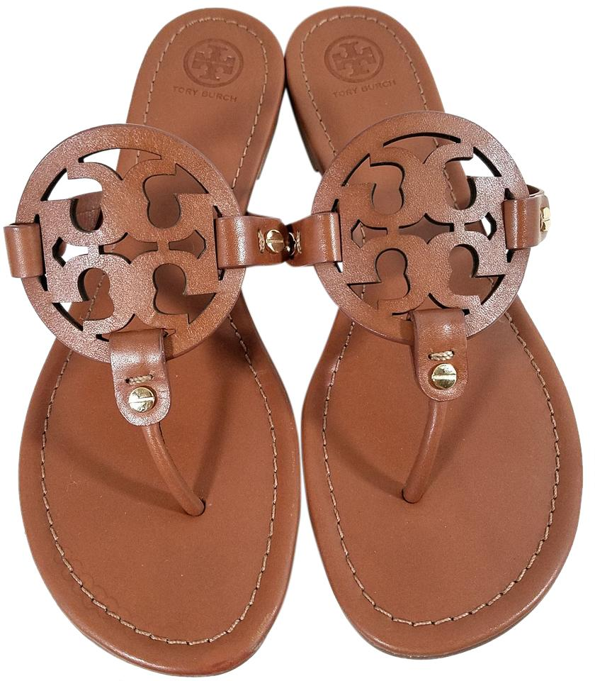 Tory Burch Flip Flops Bold Logo Cutout Leather Made In Brazil S/N 50008694  Cognac