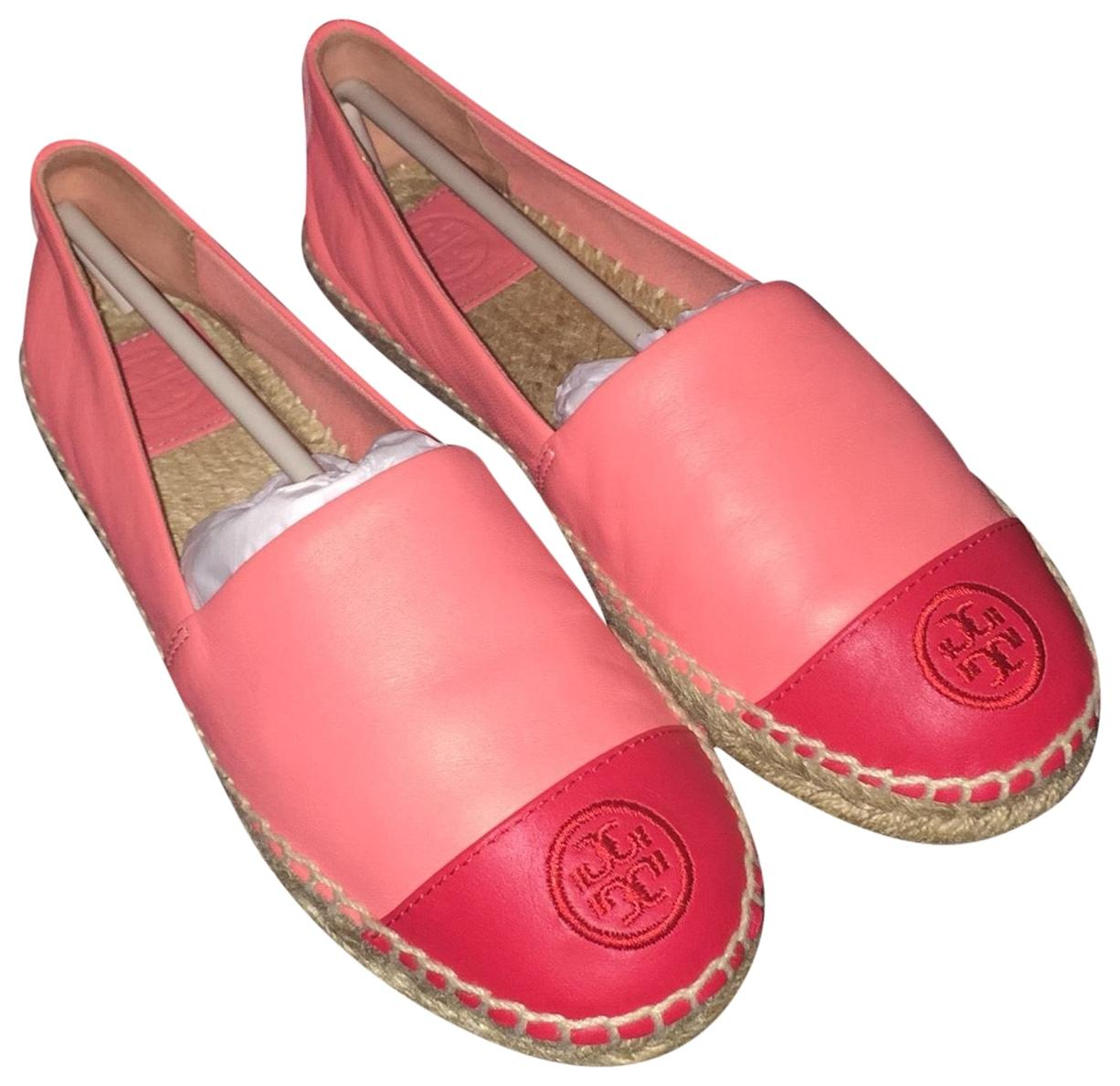 Tory Burch Coral and Red Leather Colorblock Espadrilles Flats Size US 7 Regular (M, B)