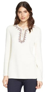 Tory Burch Embellished Ivory Tunic