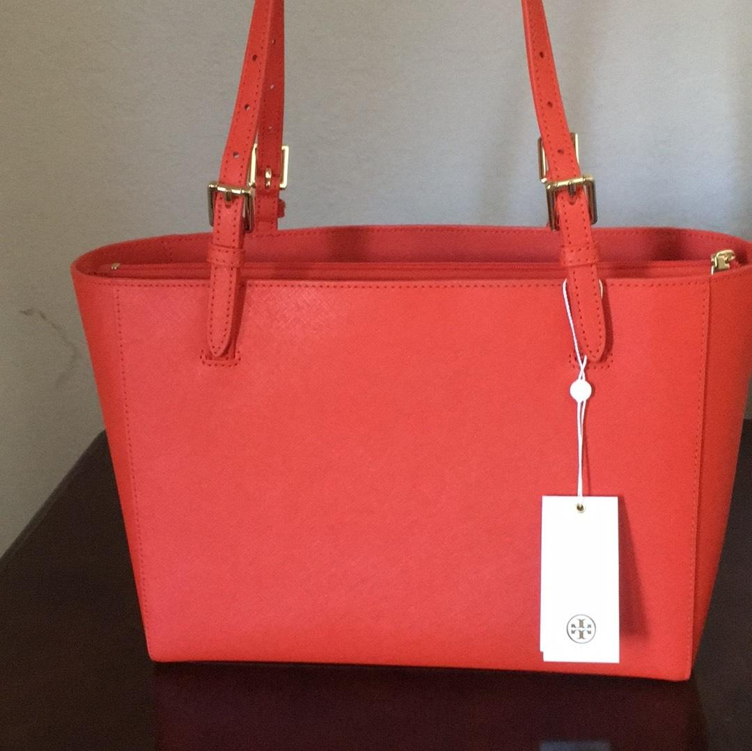ebf581143ff2 Tory burch emerson small buckle spiced orange leather tote tradesy jpg  720x719 Emerson buckle red leather