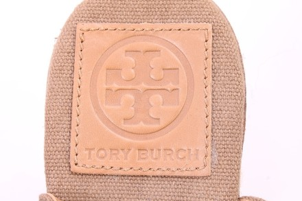 Tory Burch Espadrille Peep Toe Canvas Green and Tan Wedges