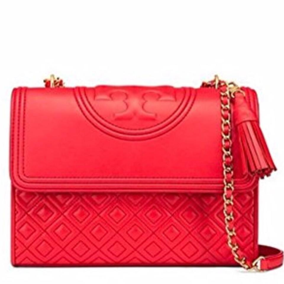 Bag Fleming Convertible Red Volcano Shoulder Tory Burch Large Leather zB8xwZq