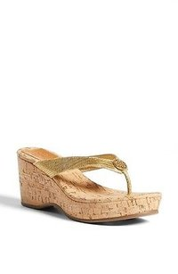 Tory Burch Suzy Cork Wedge Gold Sandals