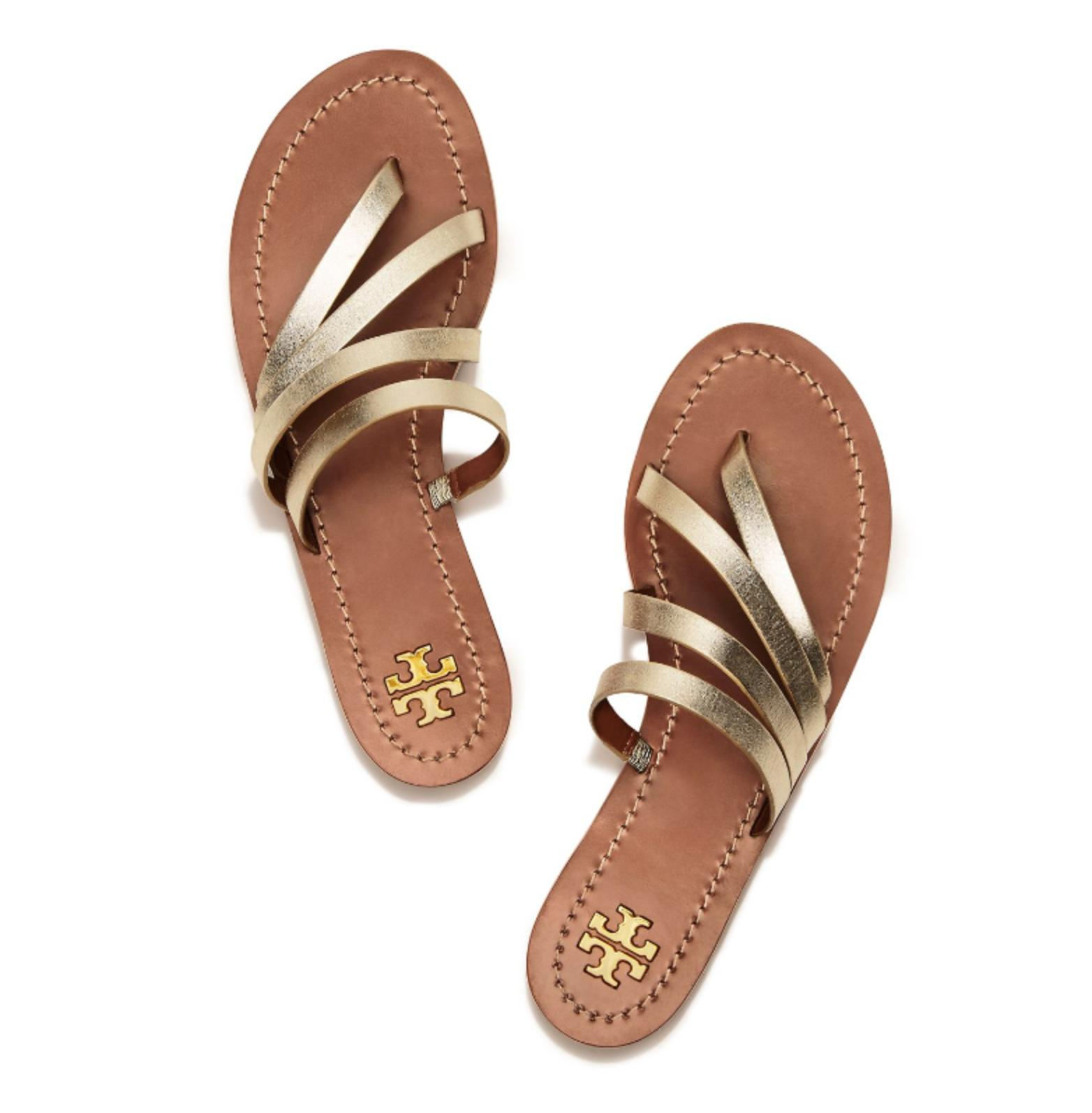 Tory Burch Patos Gladiator Slide Gold Sandals ...