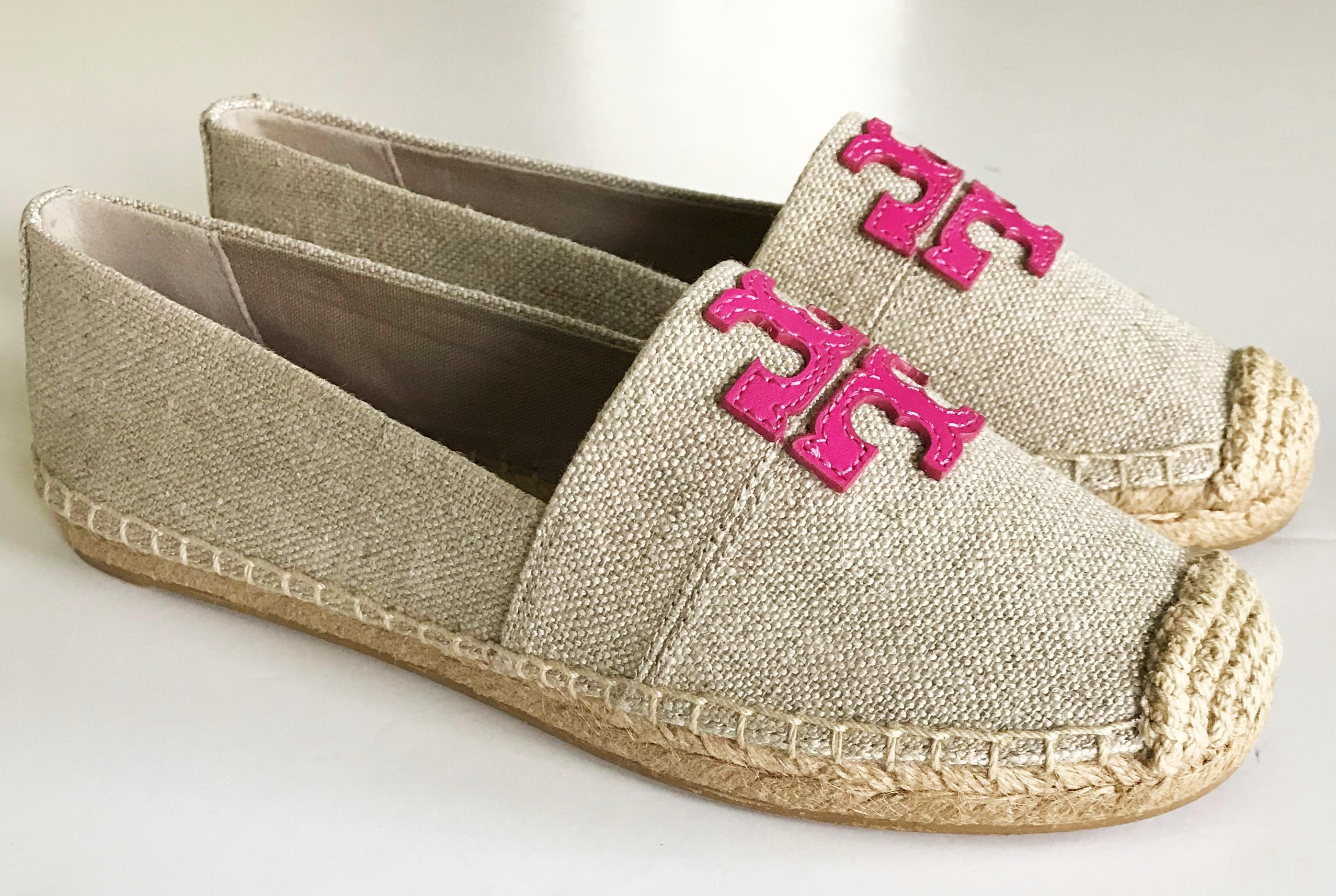 cc0dda22d ... Tory Burch Gray Pink Weston Canvas Canvas Canvas Espadrilles Flats Size  US 8.5 Regular (M ...