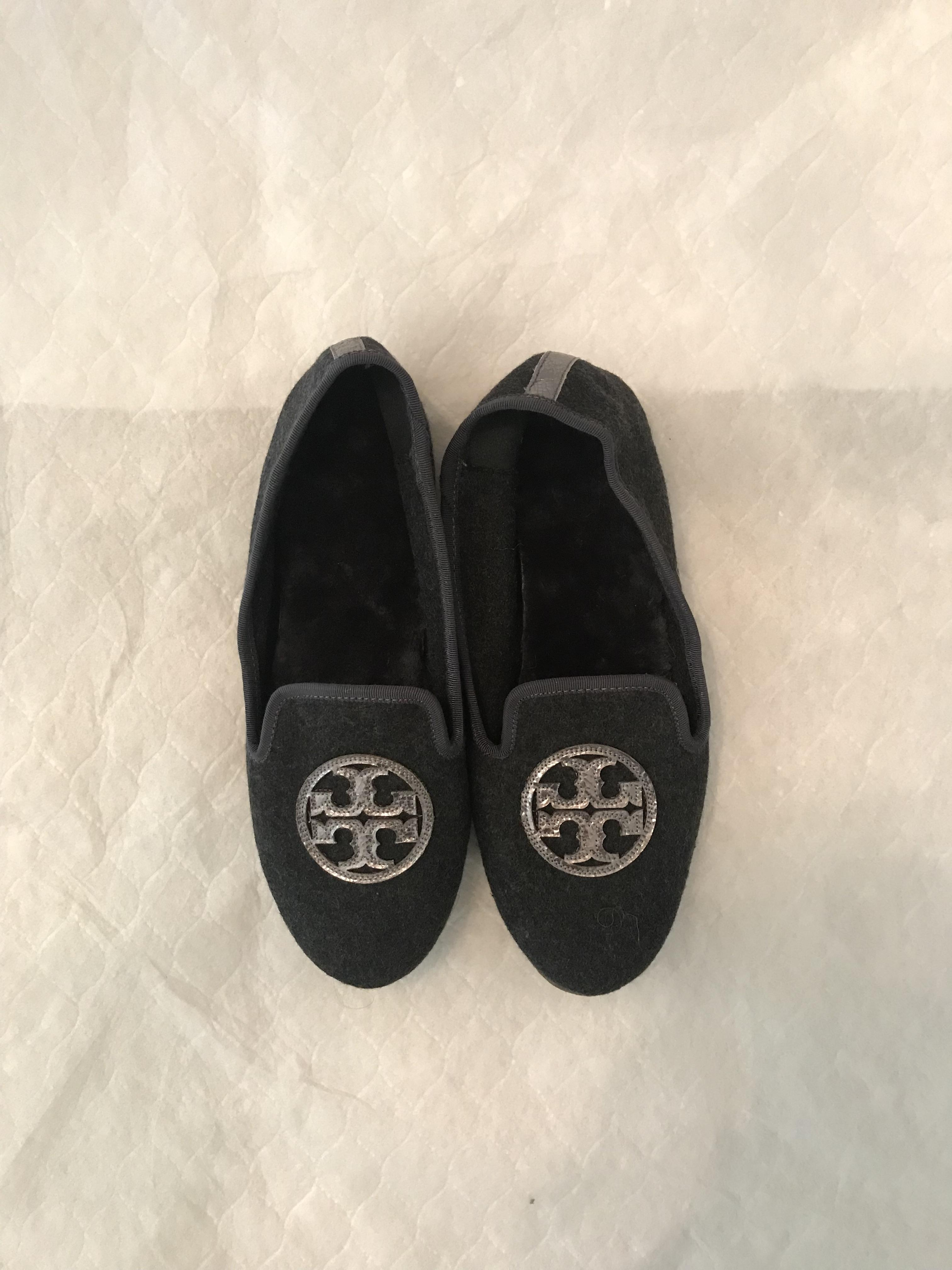 b391a5a91 Flats Size US 9 Regular Tory Burch Burch Burch Grey  Silver Billy Slipper  Slipper.