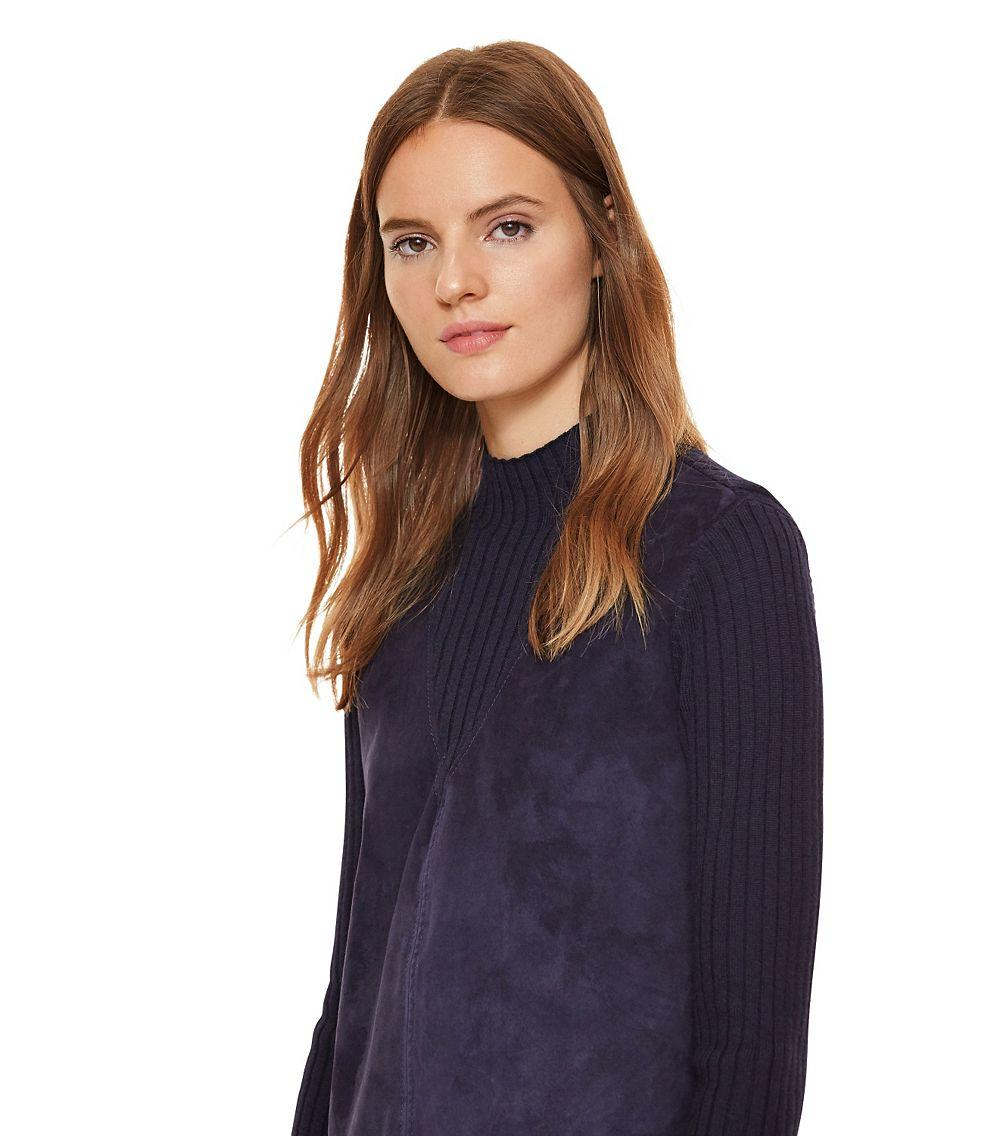 Tory Burch Pieced Suede Front & Merino Ribbed Wool Sweater