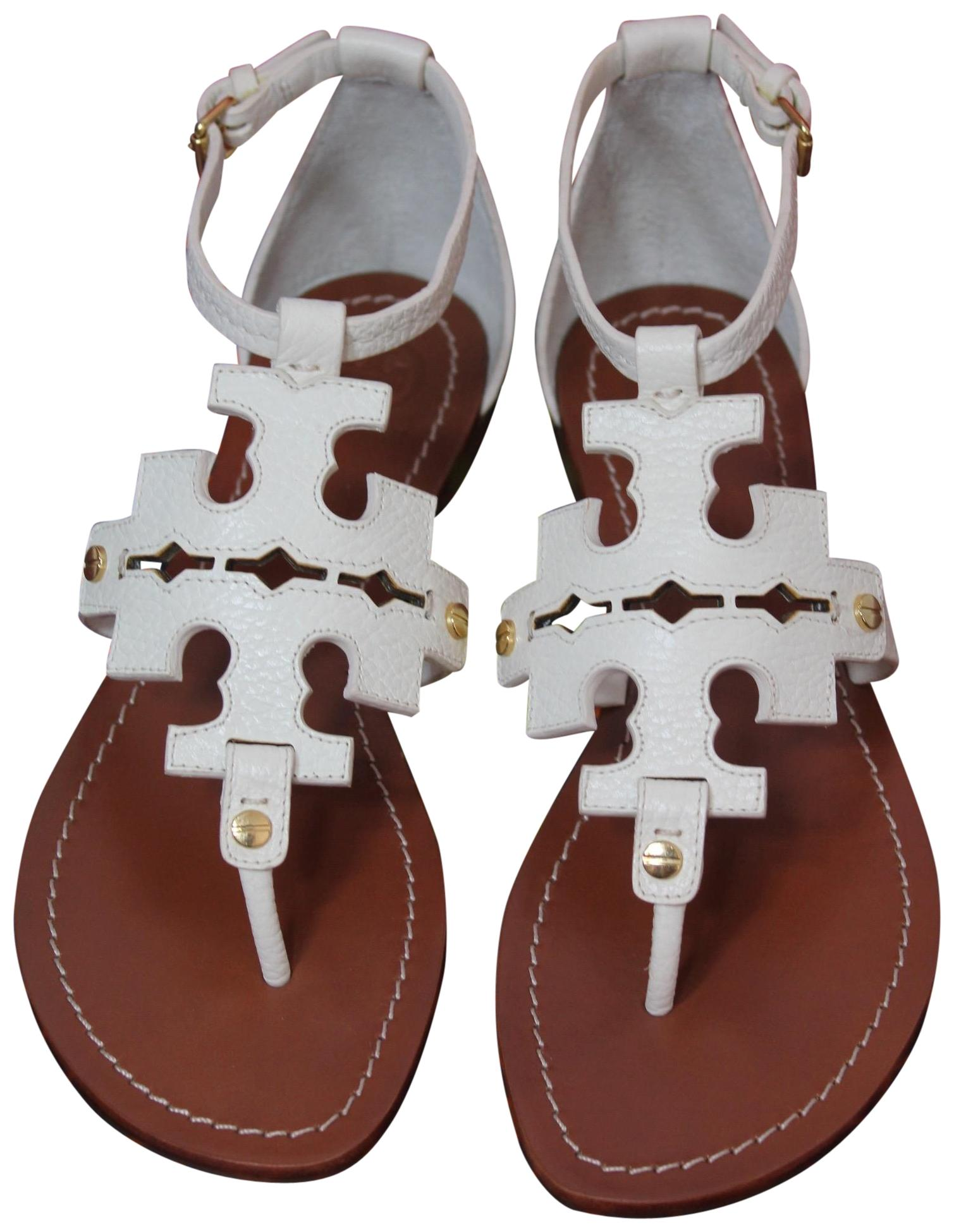 Tory Burch Ivory White New Leather Logo Flats Summer Sandals Size US 8 Regular (M, B)