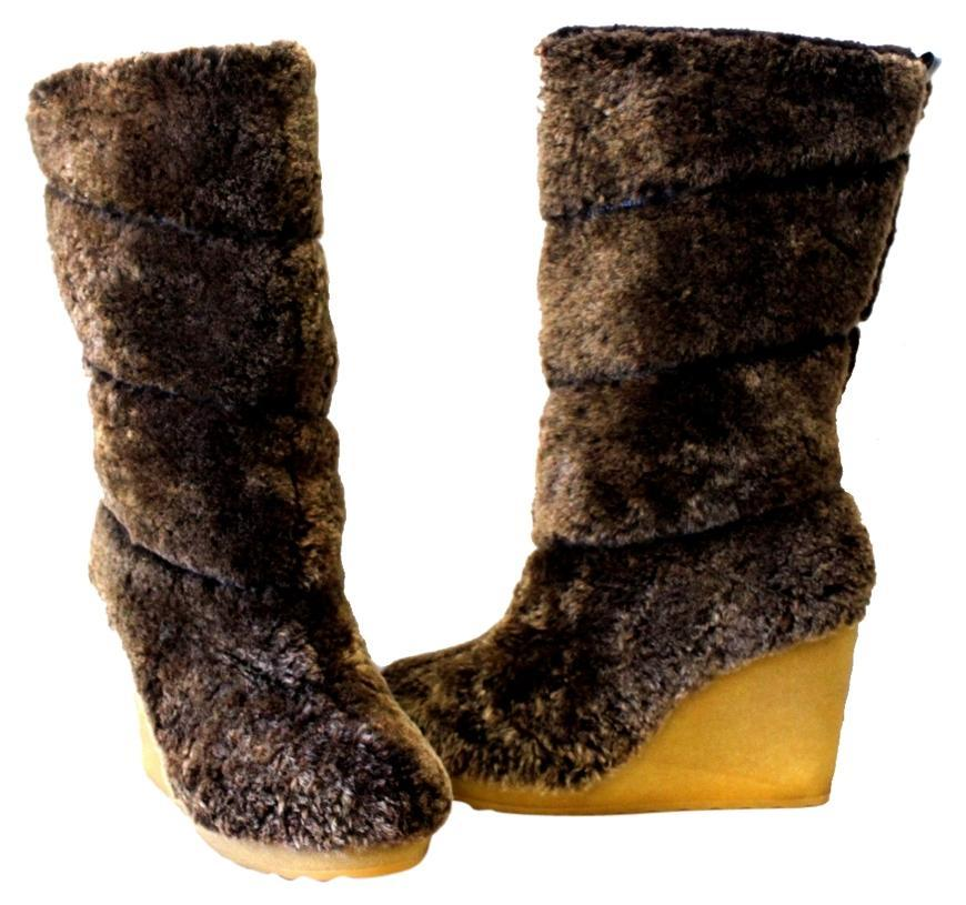 Tory Burch Java Kiki Shear Ling Sheep Fur Tall Uk Wedge Sold Out * Boots/Booties Size US 5 Regular (M, B)
