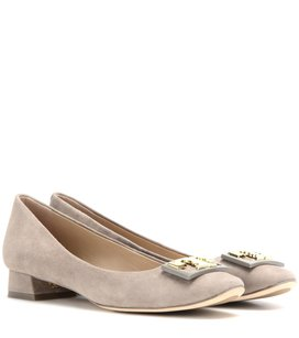 Tory Burch Leather Luxury Suede Monogram Gold Hardware Gray Pumps
