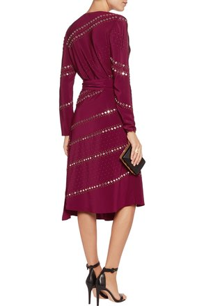 low-cost Tory Burch Red Agate Embellished Short Tie-neck Belted Silk Crepe De Chine Dress - 67% Off Retail
